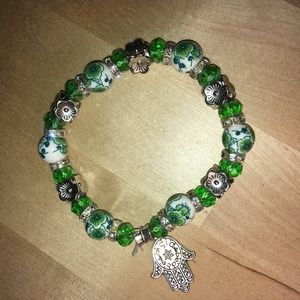 Hamsa Protection Bracelet (Green)